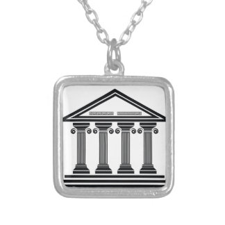 old columns silver plated necklace