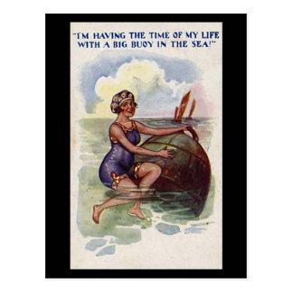 Old Comic Postcard - Fun with a big Buoy