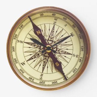 Old Compass Large Clock