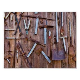 Old construction tools poster
