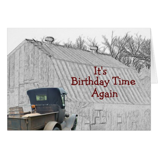 Old Country Barn & Vintage Pickup- -customise it Card