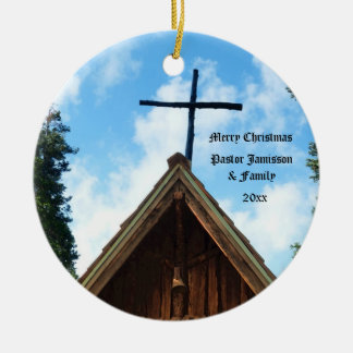 Old Country Church, Christmas Ornament for Pastor