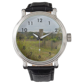 Old Country Silo Landscape Wrist Watches