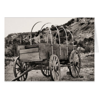 Old covered wagon greeting card