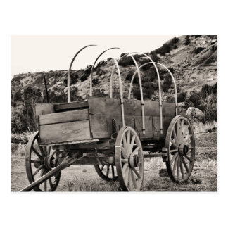 Old covered wagon postcard