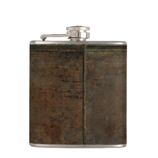 Old Cow Hide Look In Brown Hip Flask
