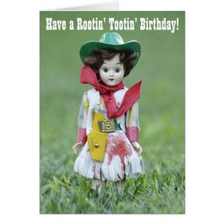 Old Cowgirl Doll YEE HAW Rootin' Tootin' Birthday Card
