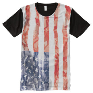 Old Creased American Flag All-Over Print T-Shirt