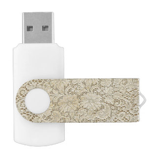 Old Crochet Lace Floral Pattern + your ideas Swivel USB 2.0 Flash Drive