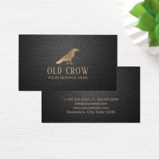 Old Crow Gold Bird Logo Elegant Black Leather Business Card