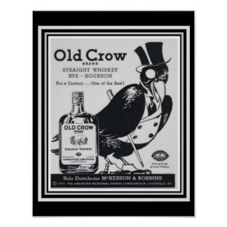 Old Crow Vintage Whiskey Ad Poster 11 x 14