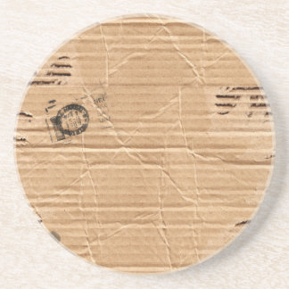 Old Damaged Brown Cardboard With Stamps And Stains Coaster
