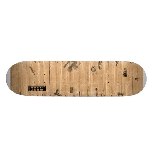 Old Damaged Brown Cardboard With Stamps And Stains Skate Deck