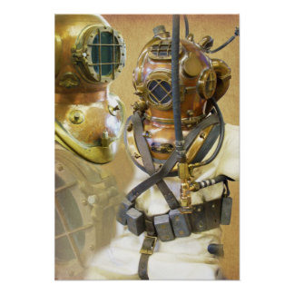 Old deep sea diving suit and helmet poster
