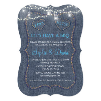 Old Denim Blue String Lights I DO BBQ Card