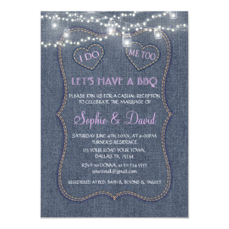 Old Denim Blue String Lights Western I DO BBQ Card