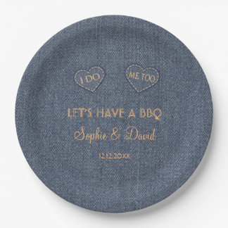 Old Denim Blue Western I DO BBQ 9 Inch Paper Plate