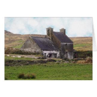 Old derelict Irish Cottage Card