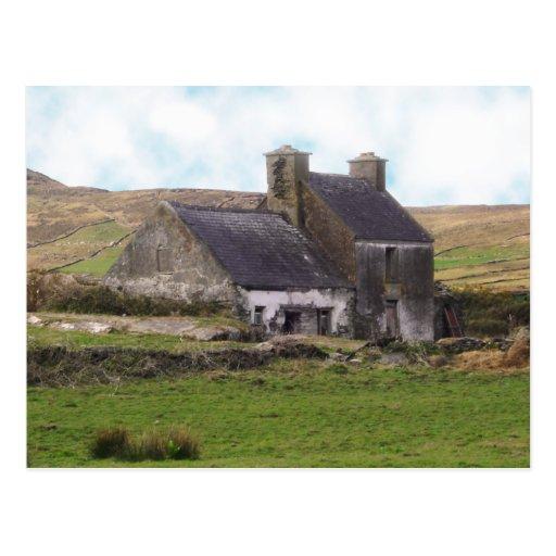 Old derelict Irish cottage Post Card