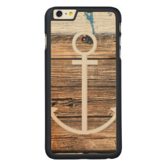 Old Dock Weathered Wood Nautical Anchor Design Carved Maple iPhone 6 Plus Case