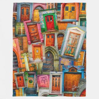 Old Doors Unique Colorful Modern Artistic Fleece Blanket