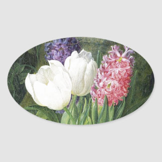 Old Dutch Spring Flowers Oval Sticker