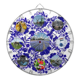 Old Dutch Style Pattern Delft Blue Delftware Dartboard With Darts