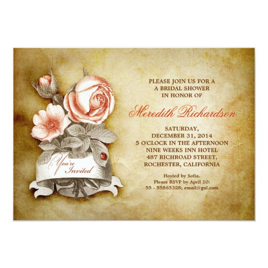 old elegant vintage bridal shower invitation