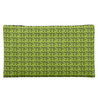 Old-English-Double-Rose-Green-Sueded-Cosmetic-Bags Makeup Bag