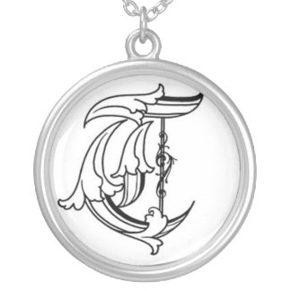 Old English Initial T Necklace