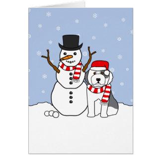 Old English Sheepdog and Snowman Card
