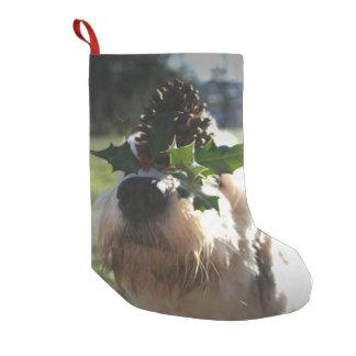 Old English Sheepdog Balancing Holly Small Christmas Stocking