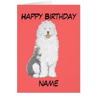 Old English Sheepdog Birthday Cards, add text Card