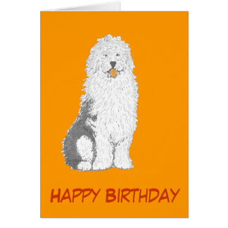 Old English Sheepdog Birthday Cards, add text Card