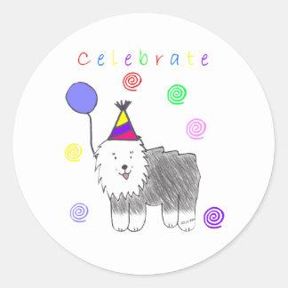 Old English Sheepdog Celebrate Classic Round Sticker