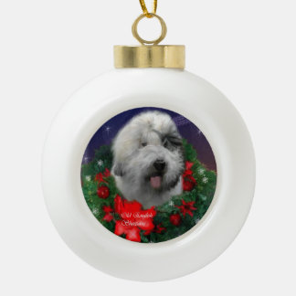 Old English Sheepdog Ceramic Ball Christmas Ornament