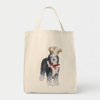 Old English Sheepdog Chef of Love Grocery Tote Bag