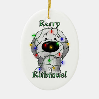 Old English Sheepdog - Christmas Lights Ceramic Ornament