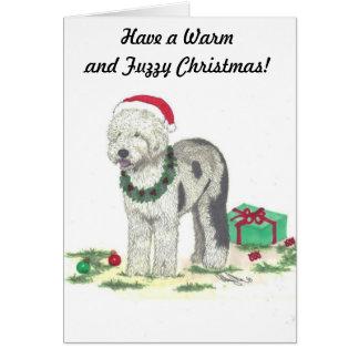 Old English Sheepdog Christmas note card
