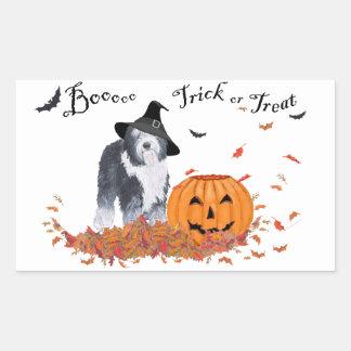 Old English Sheepdog Halloween Rectangular Sticker