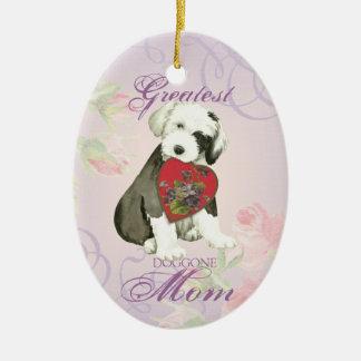 Old English Sheepdog Heart Mom Ceramic Ornament
