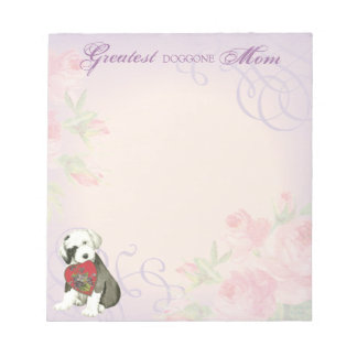 Old English Sheepdog Heart Mom Notepad