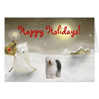 Old English Sheepdog Holiday Card