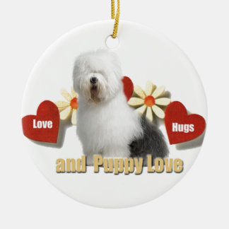 Old English Sheepdog Love,Hugs,Puppy Love gifts Ceramic Ornament