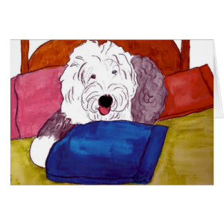 Old English Sheepdog on bed Card