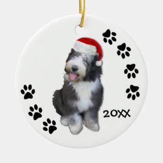 Old English Sheepdog Puppy Christmas Ornament