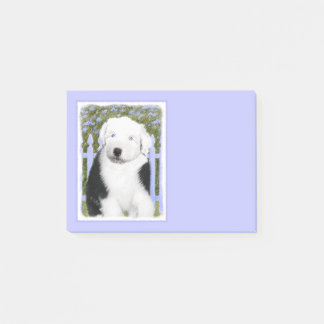 Old English Sheepdog Puppy Painting - Dog Art Post-it Notes