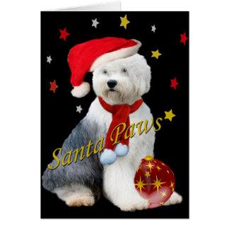 Old English Sheepdog Santa Paws Card