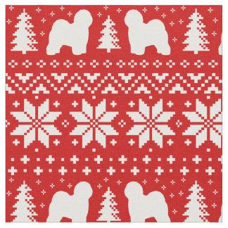 Old English Sheepdog Silhouettes Christmas Pattern Fabric