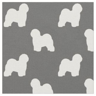 Old English Sheepdog Silhouettes Pattern Fabric